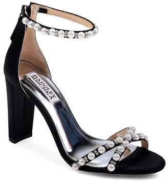Badgley Mischka Women's Hooper Embellished Satin High Block Heel Sandals