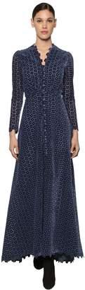 Luisa Beccaria Long Flower Embroidered Velvet Dress