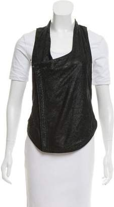 Helmut Lang Leather-Accented Sleeveless Vest