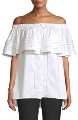 Donna Karan Off-The-Shoulder Button Blouse