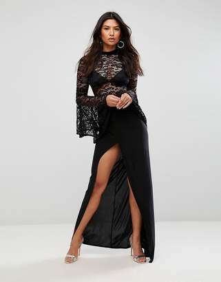 Club L Lace Flute Sleeve High Neck Maxi Dress With Wrap Front Skirt
