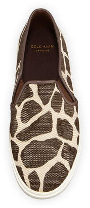 Cole Haan Jennica II Grand Animal-Print Canvas Slip-On Sneakers