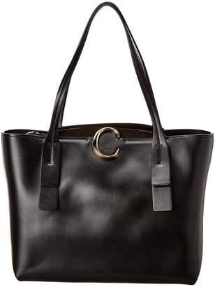 Chloé C Medium Zipped Leather & Suede Tote
