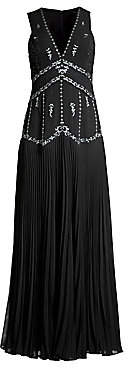 BCBGMAXAZRIA Women's Chiffon Star-Embroidered Sleeveless Gown - Size 0