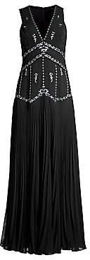 BCBGMAXAZRIA Women's Chiffon Star-Embroidered Sleeveless Gown - Size 0