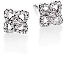 De Beers Women's Enchanted Lotus Diamond& 18K White Gold Mini Stud Earrings