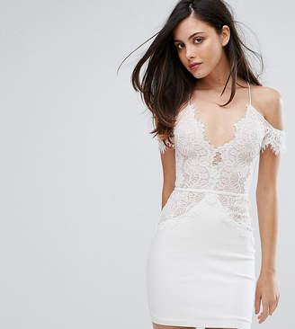 Rare London Off Shoulder Mini Bodycon Dress In Scallop Lace
