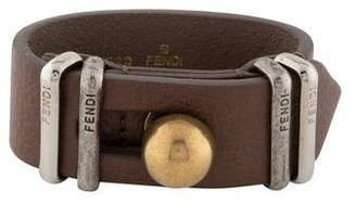 Fendi Two-Tone Leather Wrap Bracelet