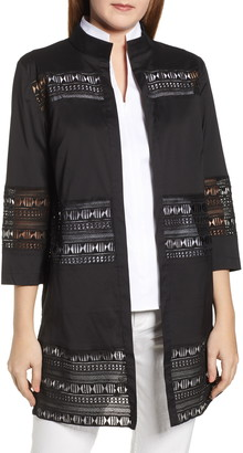Ming Wang Lace Inset Long Jacket
