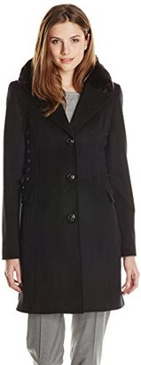 Betsey Johnson Women's Single-Breasted Wool-Blend Coat with Corset Sides $108.55 thestylecure.com
