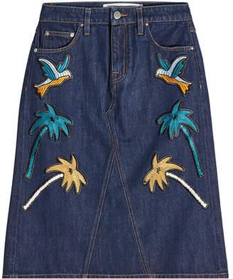Victoria Beckham Victoria Embroidered Denim Skirt