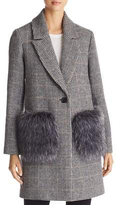 KENDALL + KYLIE Houndstooth Faux Fur Pocket Coat