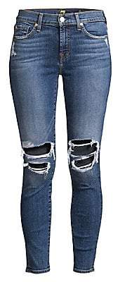 7 For All Mankind Women's Ankle Skinny Distressed Jeans