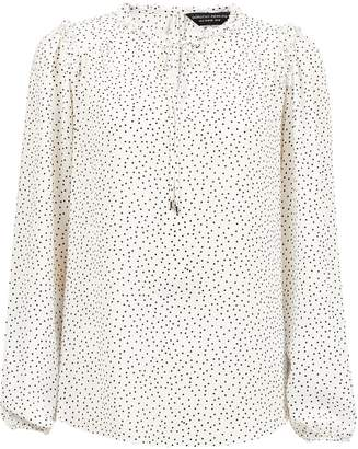 Dorothy Perkins Womens White Monochrome Spot Print Tie Neck Top