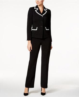 Le Suit Jayden Contrast-Trim Three-Button Pantsuit $200 thestylecure.com