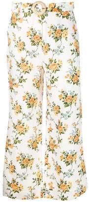 Zimmermann tangerine vine floral trousers