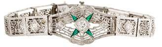 14K Diamond & Paste Filigree Art Deco Bracelet