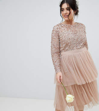 Maya Plus Long Sleeve Sequin Top Midi Dress With Tiered Tulle Skirt