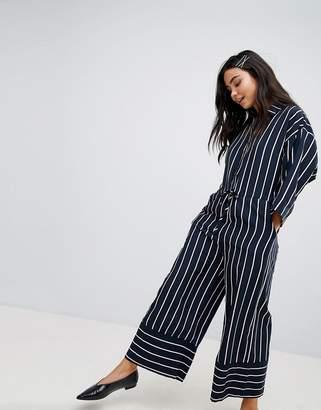 Monki Wide Leg Stripe Jumpsuit