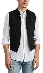 John Varvatos MEN'S LINEN-BLEND STRIPED JACQUARD VEST
