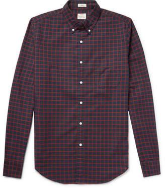 J.Crew Slim-Fit Button-Down Collar Checked Pima Cotton Oxford Shirt - Men - Navy