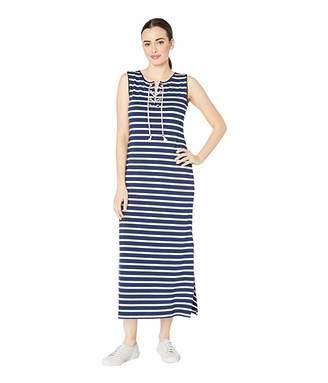 Tribal Pique Stripe Knit Sleeveless Lace-Up Maxi Dress