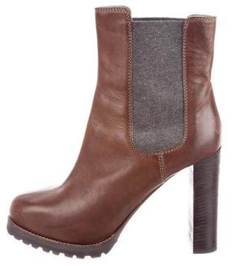Brunello Cucinelli Leather Platform Ankle Boots