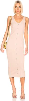 Balmain Button Ribbed Dress in Nude | FWRD