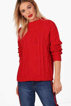 boohoo Oversized Funnel Neck Crop Cable Jumper