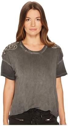 The Kooples T-Shirt Avec Broderie Bandbourg Epaules Women's T Shirt