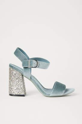 H&M Block-heeled Sandals - Turquoise