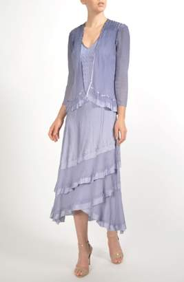 Komarov Charmeuse & Chiffon Tiered Hem Dress with Jacket