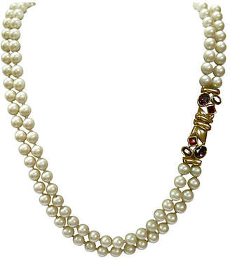 One Kings Lane Vintage Gripoix Glass Pearl Necklace - Wisteria Antiques Etca