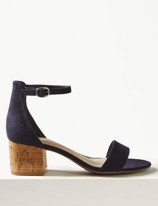 b91185243c M&S CollectionMarks and Spencer Wide Fit Block Heel Two Part Sandals