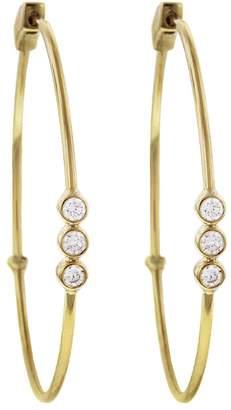Jennifer Meyer Bezel Diamond Trio Click Hoop Earrings
