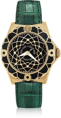 Julius Legend Capitol - 18K Gold & Green Crocodile Leather Watch