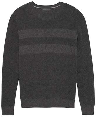 Banana Republic SUPIMA® Cotton Textured Chest Stripe Crew-Neck Sweater