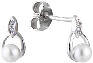 Splendid Pearls Freshwater Pearls Rhodium Plated 3.5-4Mm Freshwater Pearl Drop Earrings