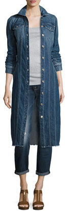 7 For All Mankind Long Denim Trucker Jacket w/Raw Hem, Waterloo $359 thestylecure.com