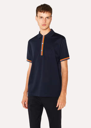 Paul Smith Men's Slim-Fit Navy Cotton-Pique Polo Shirt With 'Artist Stripe' Details