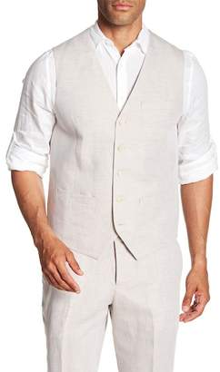 Perry Ellis Linen Blend Regular Fit Twill Vest