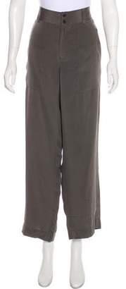 Ralph Lauren Black Label Silk High-Rise Wide-Leg Pants