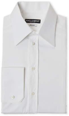 Dolce & Gabbana Optical White Gold Fit Solid Dress Shirt
