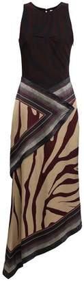 Roberto Cavalli Asymmetric Zebra-print Crepe And Silk-satin Midi Dress