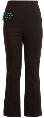 Toga Bead Embellished Straight Leg Wool Blend Trousers - Womens - Navy