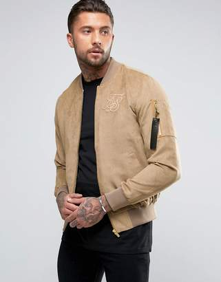 SikSilk Suedette Bomber Jacket In Stone