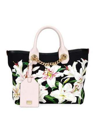 94f1b220bdc8 Dolce   Gabbana Flower Canvas and Leather Shopper Tote Bag with Chain