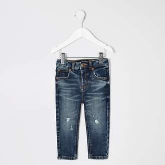 River Island Mini boys dark Blue ripped skinny Sid jeans