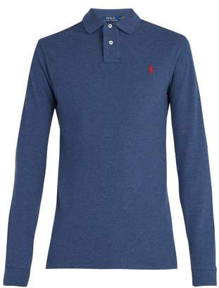 Polo Ralph Lauren Long Sleeved Cotton Pique Polo Shirt - Mens - Navy