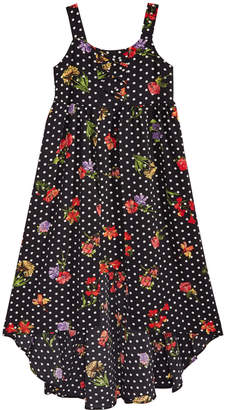 Sequin Hearts Floral-Print Lace-Up Maxi Dress, Big Girls